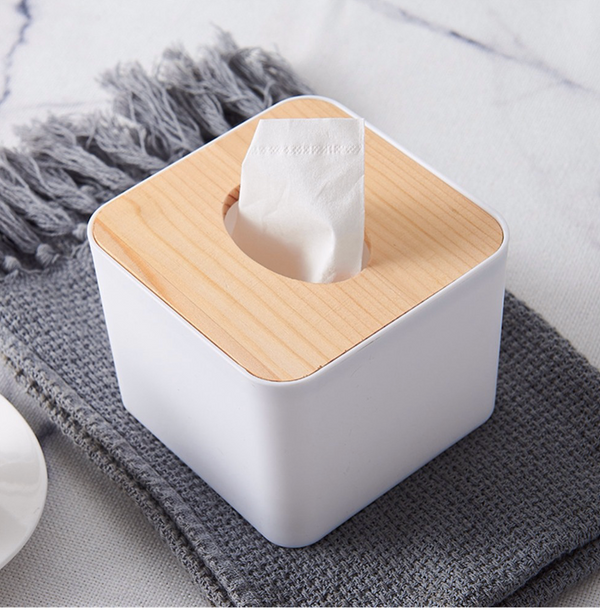 Minimalist Tissue Box With Wood Cover