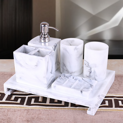 Marble 6 Piece Bath Accessories Set
