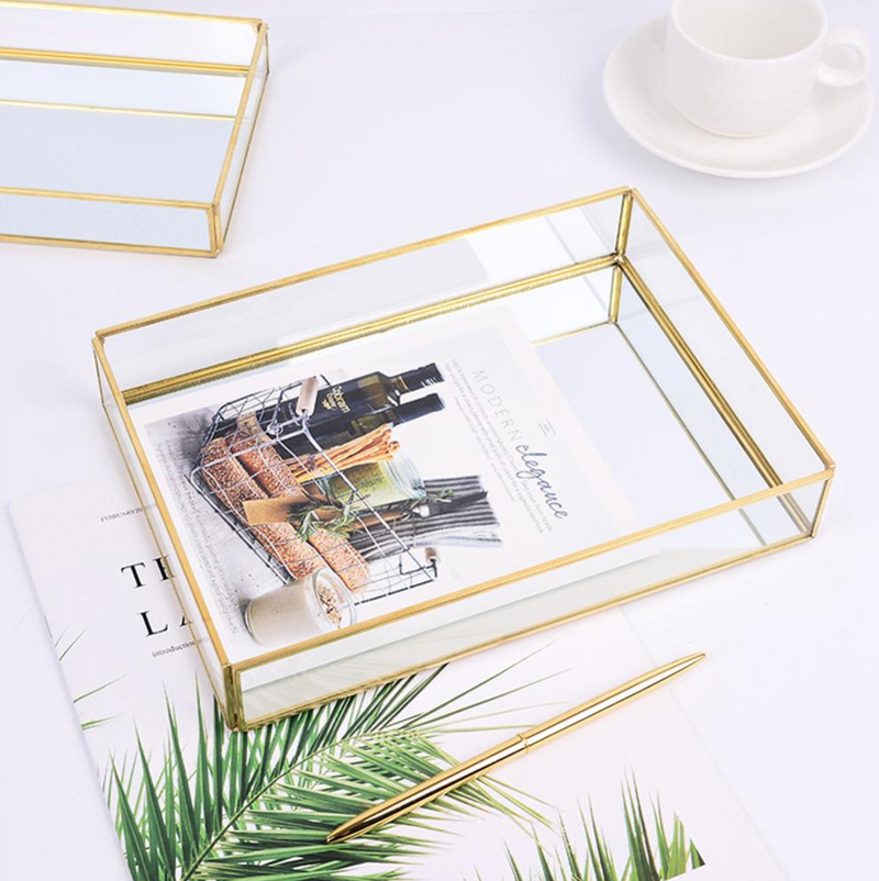 Vienna Gold Framed Rectangular Decor Tray