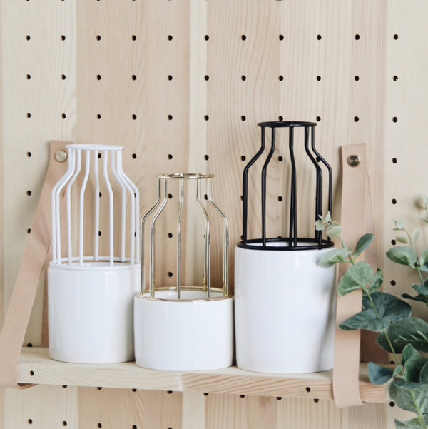 Nume Ceramic Caged Planter