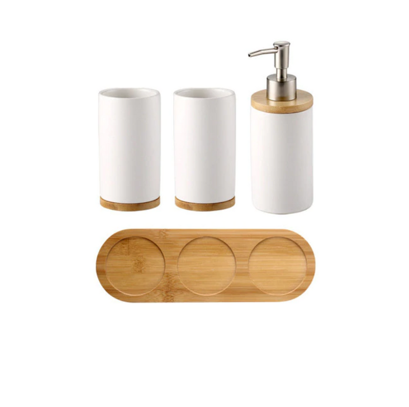 Minimalist Round 4 Piece Bath Set With Tray