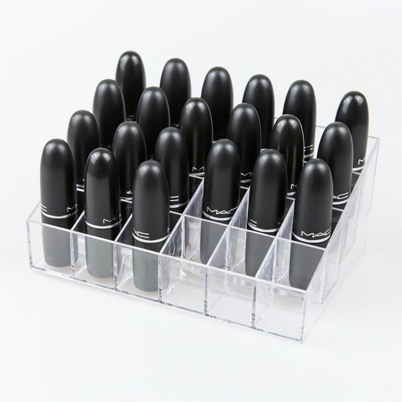 Luxe Acrylic 24-Slot Short Cosmetic Organizer
