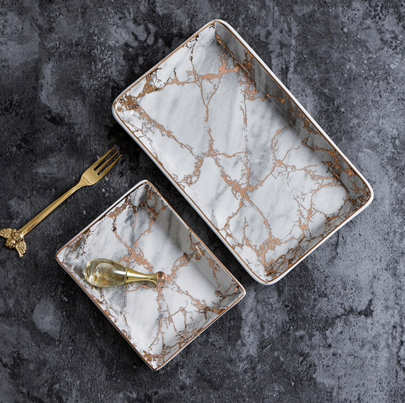 Luna Marble Tray With Gold Accents