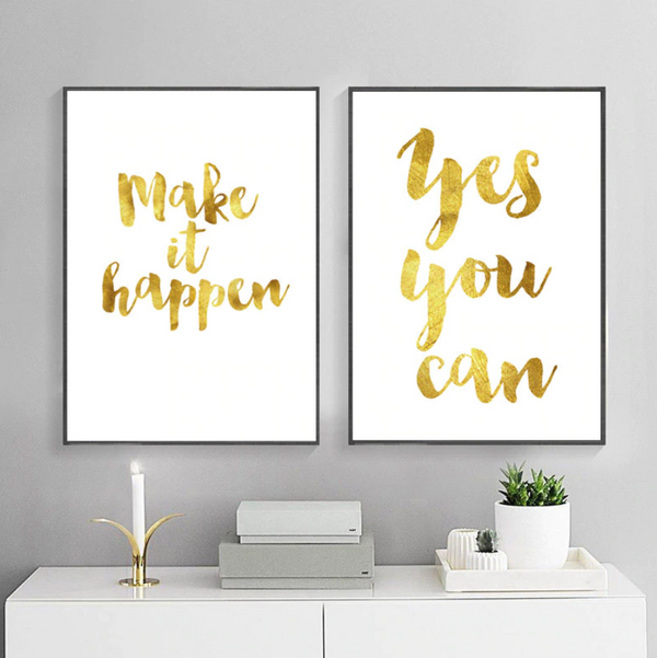 Golden Brushed Inspiration Canvas