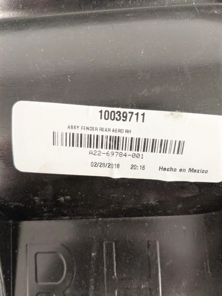 Used Freightliner RH Quarter Fender (w/o Clamp & Mud Flap) P/N: 22-58857-001 (5020628451414)
