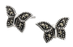 Dew Marcasite Butterfly Sterling Silver Stud Earrings