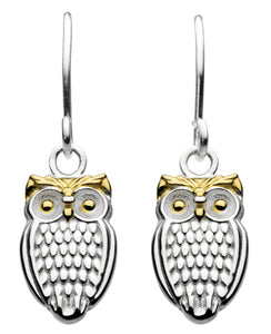Dew Sterling Silver and Gold Plate Owl Drop Earrings