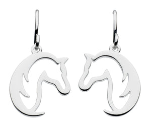 Dew Sterling Silver 'Hoofing Around' Horse Drop Earrings
