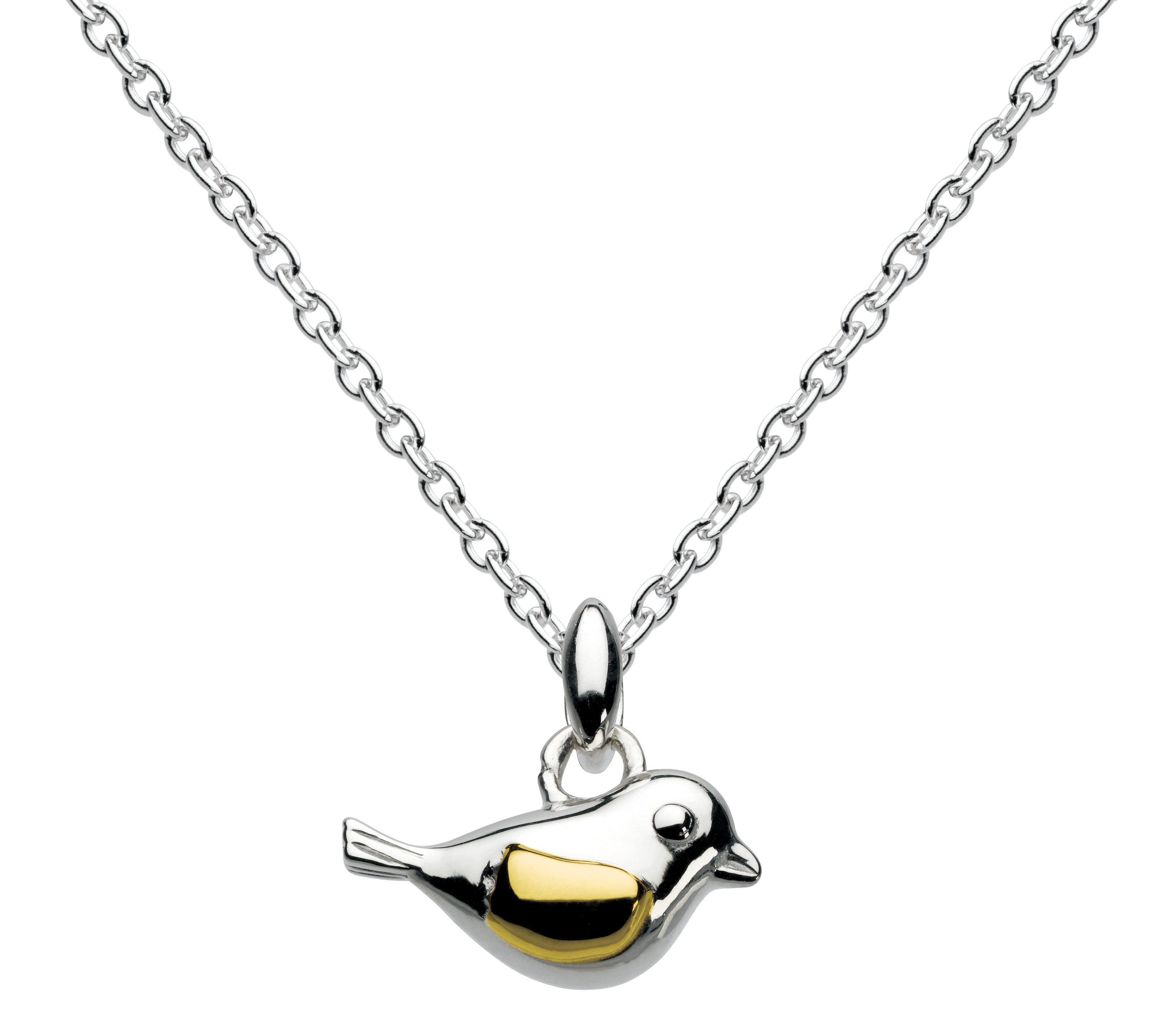 Sterling Silver Bird With Gold Plate Pendant