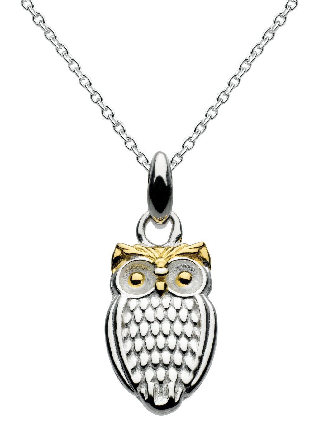 Dew Sterling Silver With Gold Plate Owl Pendant