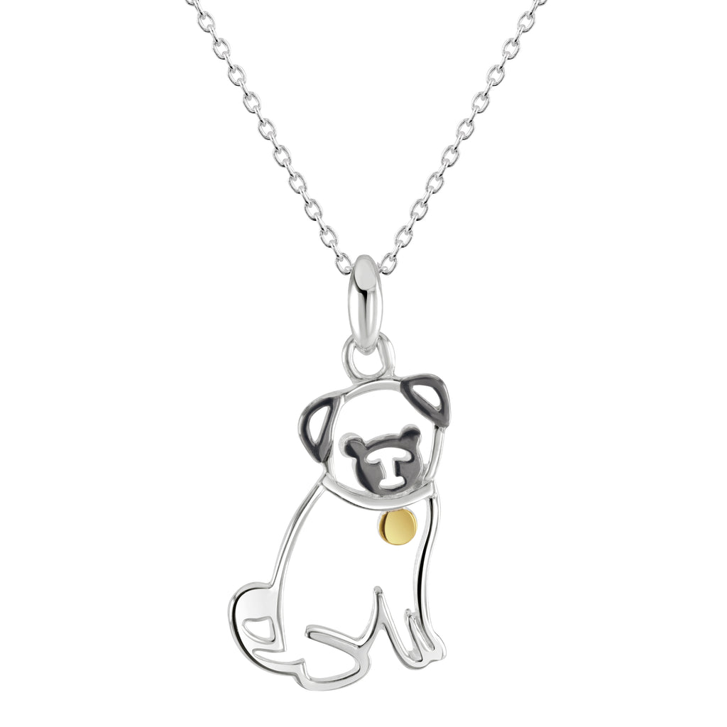 Silver Pug dog pendant with a little gold heart