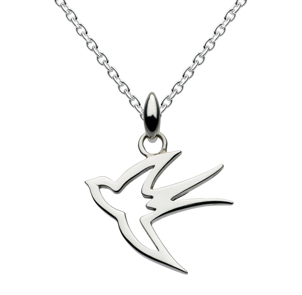 Dew Sterling Silver Swallow Pendant and Earring Set