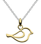 Dew Home Tweet Home Gold Plated Bird Pendant
