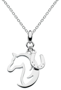 Dew Sterling Silver 'Hoofing Around' Horse & Horseshoe Pendant