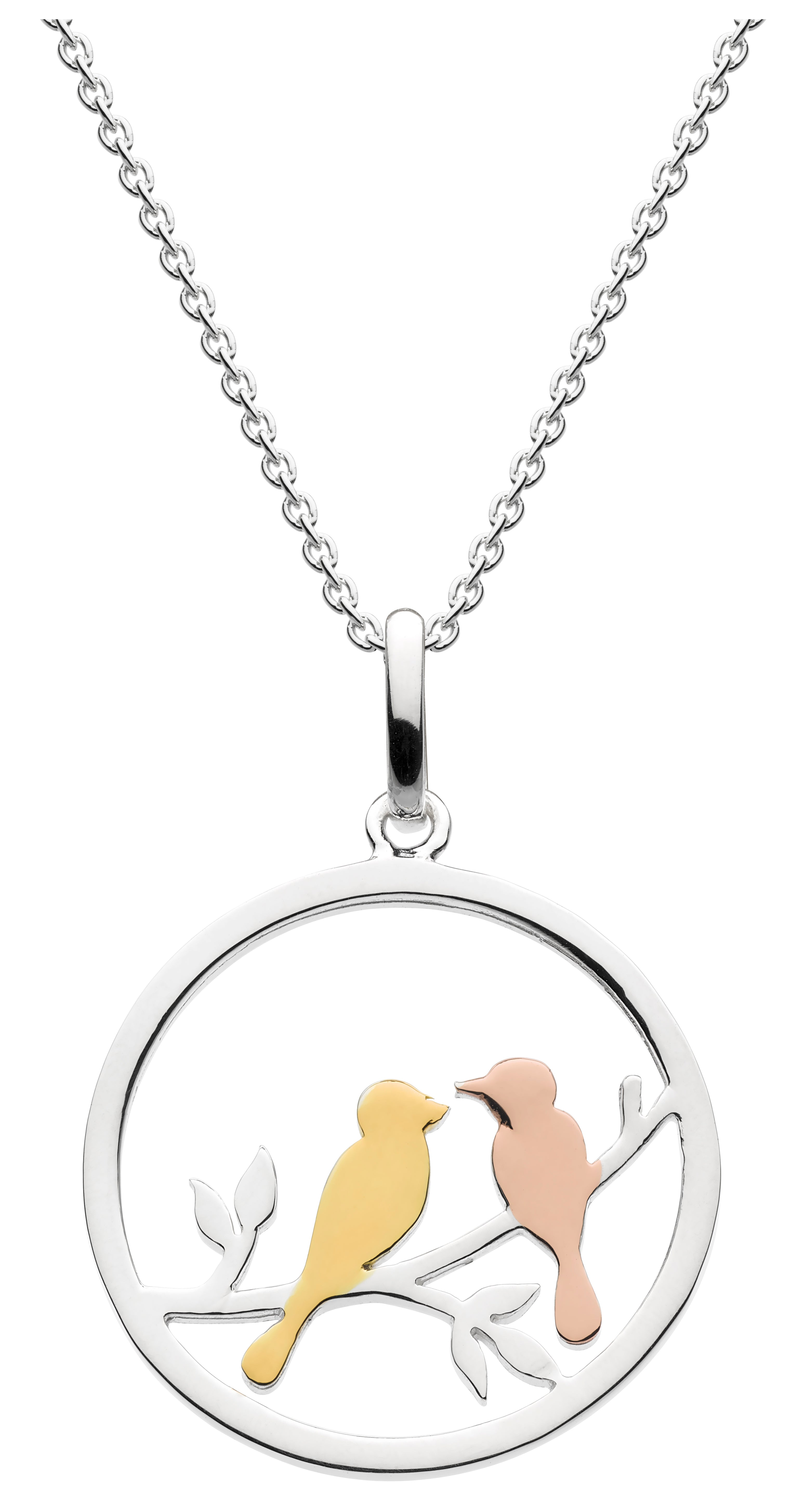 pendant with two birds in gold and rose gold plated detail sat on a branch within a simple circle of sterling silver.