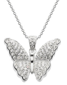 Silver butterfly pendant with cubic zirconia stones on a chain