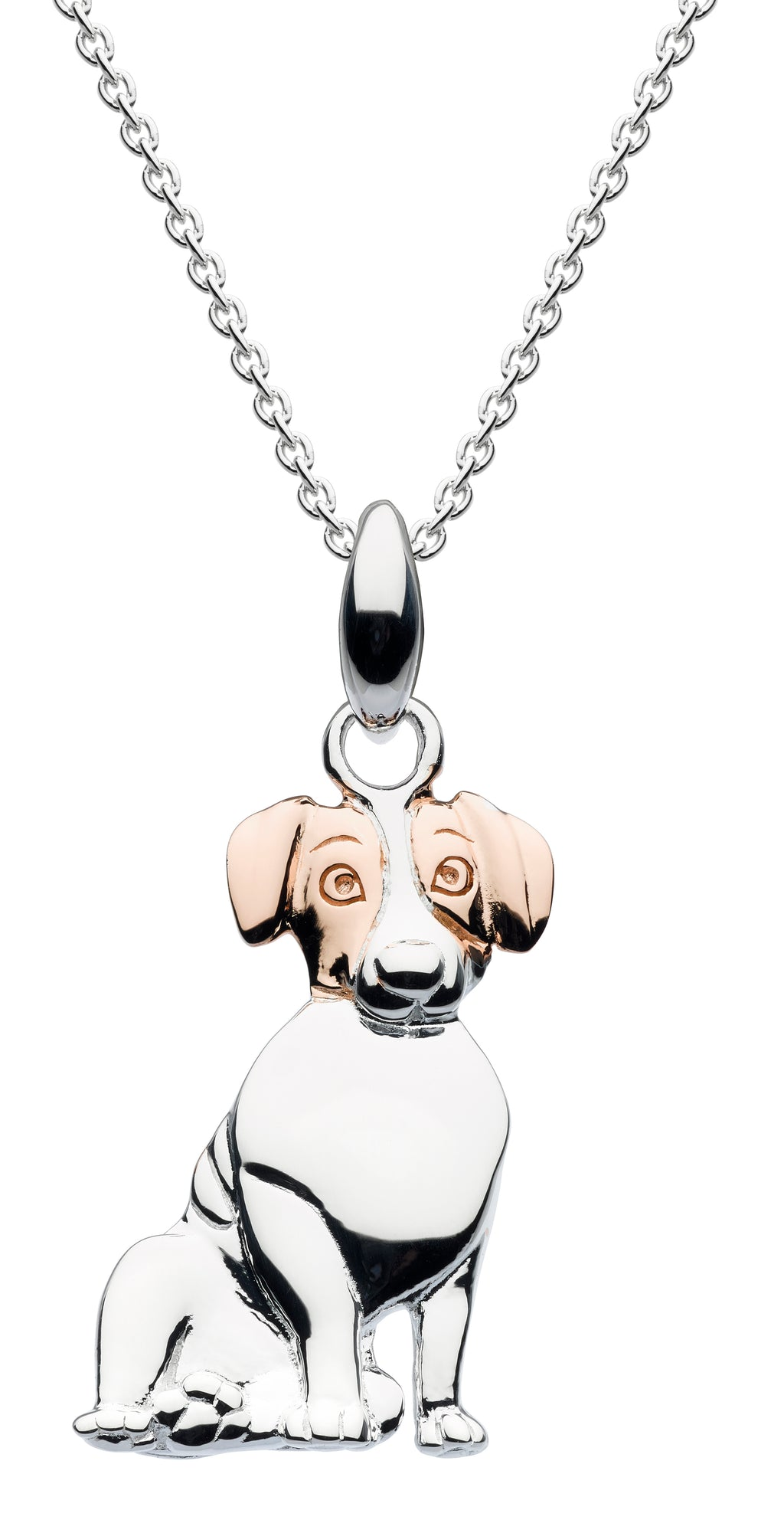 Jack Russell with Rose Gold Ears Pendant