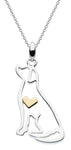 Silver Labrador cut out design pendant with gold heart