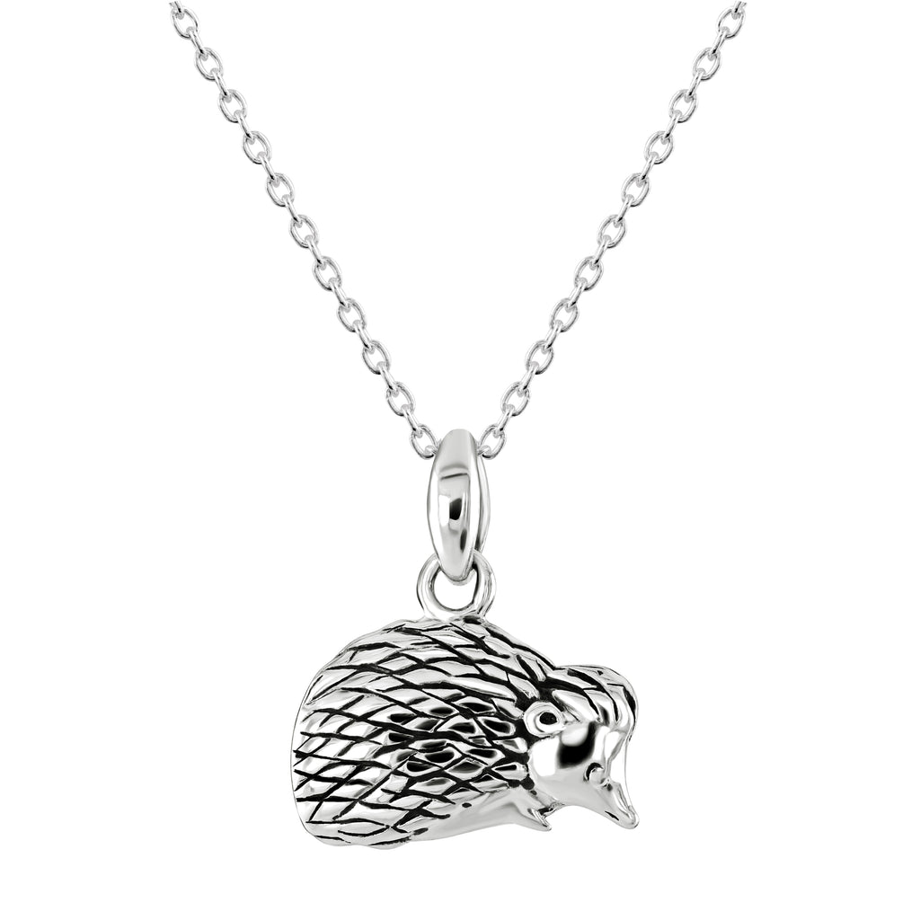 Dew Hedgehog Oxidised Sterling Silver Pendant