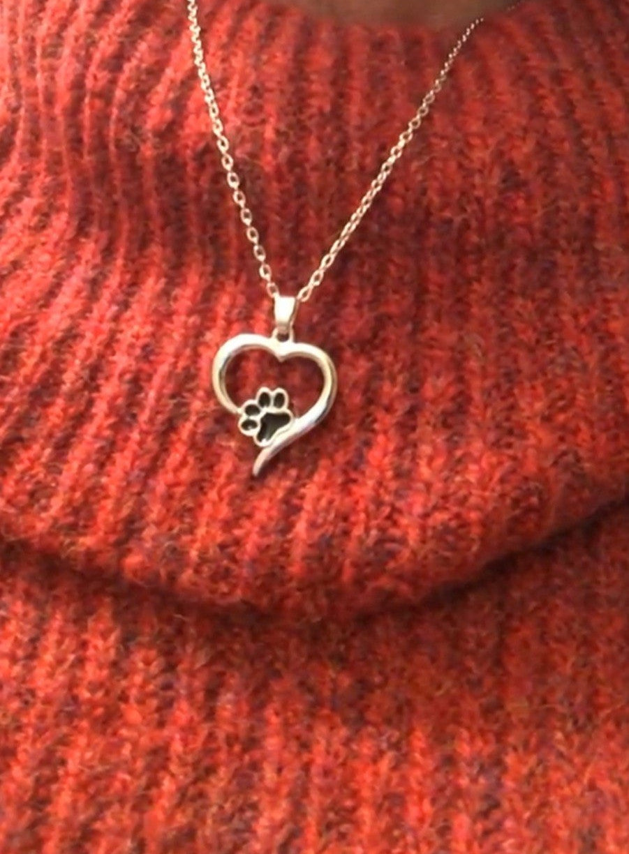 Heart shaped pendant with paw print on red jumper