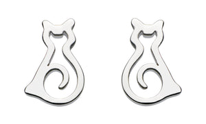 Dew  Sterling Silver Stud Cat Earrings