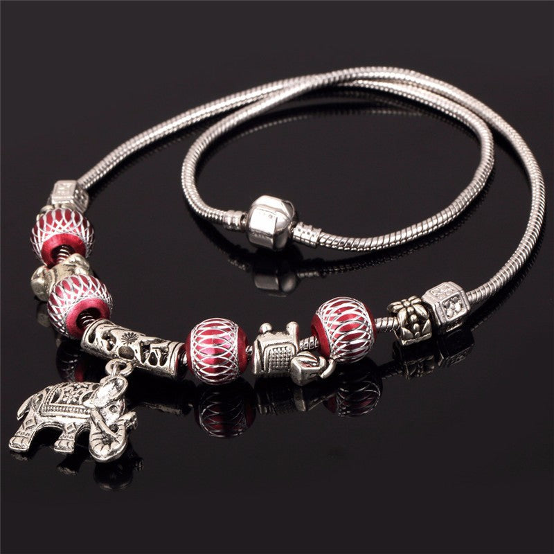 Vintage Tibetan Elephant Charm Necklace with Crystal Beads