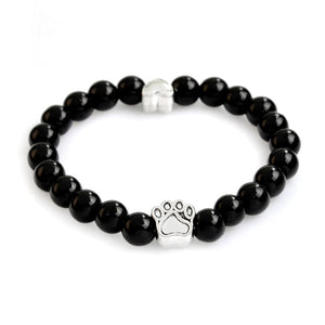 Handmade Natural Stone Beads Chakra Bracelets with Paw Print & Heart