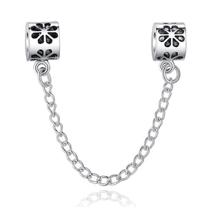 charm bracelet safety chain with flower design