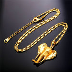 Gold Elephant Head Pendant and Chain