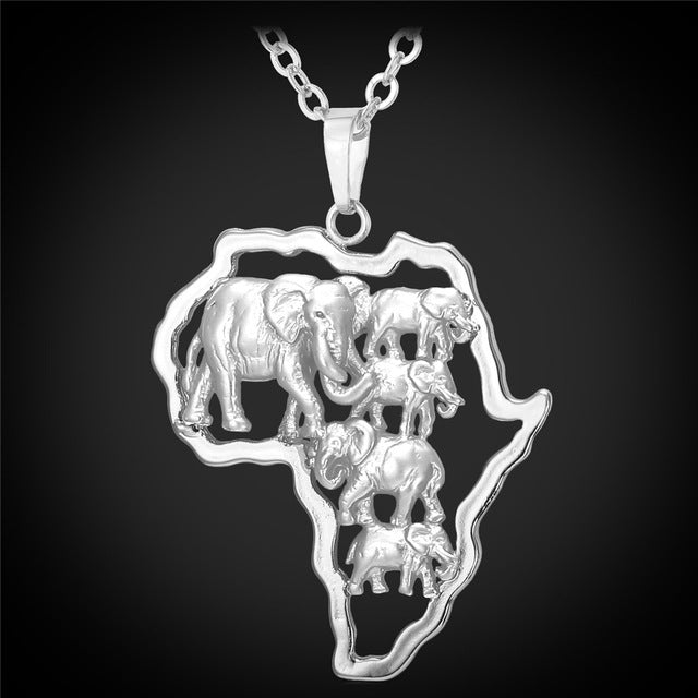 Africa Elephant Herd  Necklace