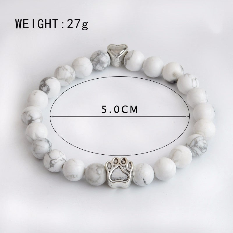 Chakra bracelet in white showing dimensions
