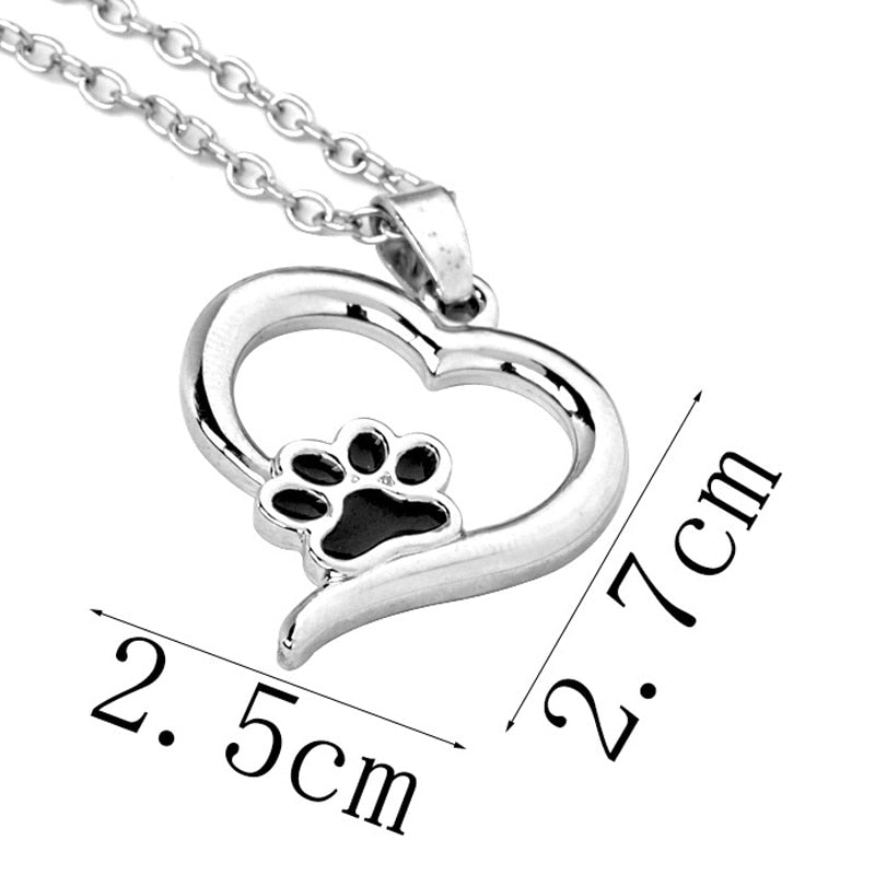 Heart shaped pendant with paw print showing dimensions