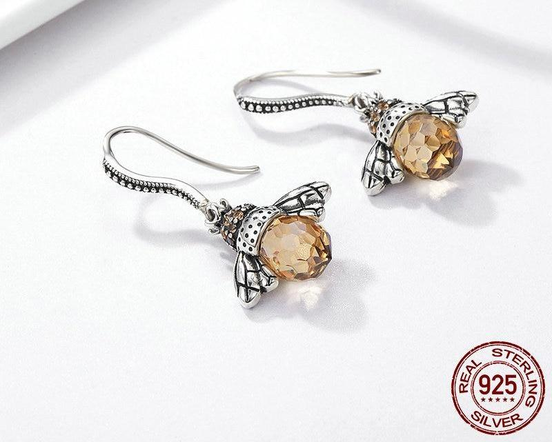 925 Sterling Silver Wing Honey Bee Earrings