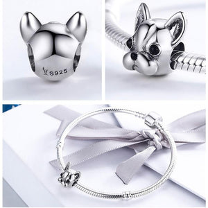 3 pictures showing the front and back of a french bulldog charm and one with it on a bracelet