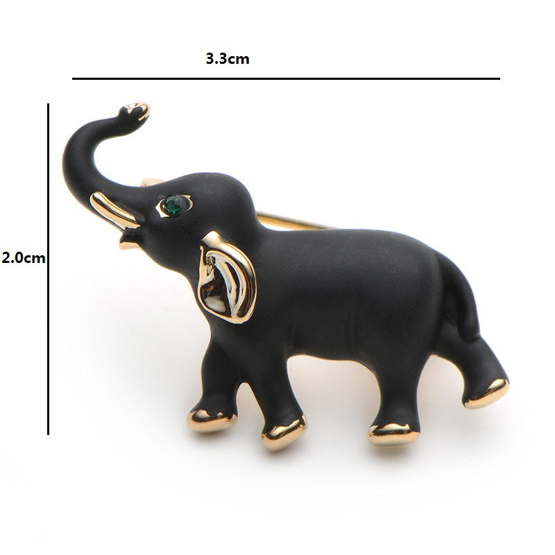 Stylish Black Enamel Baby Elephant Brooch