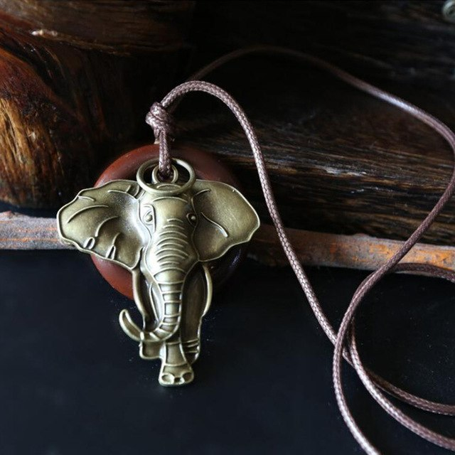 Unisex Vintage Elephant Pendant Necklace
