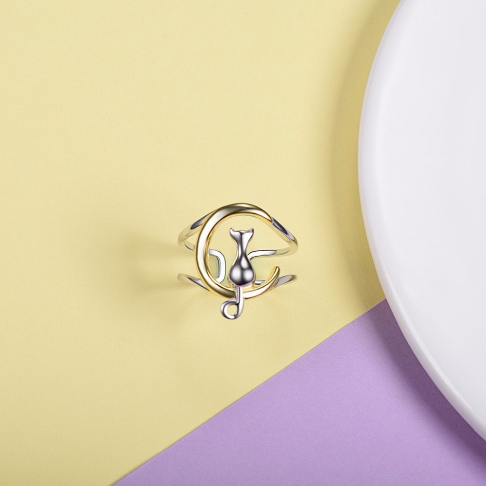 Sterling Silver Cat on The Moon Ring