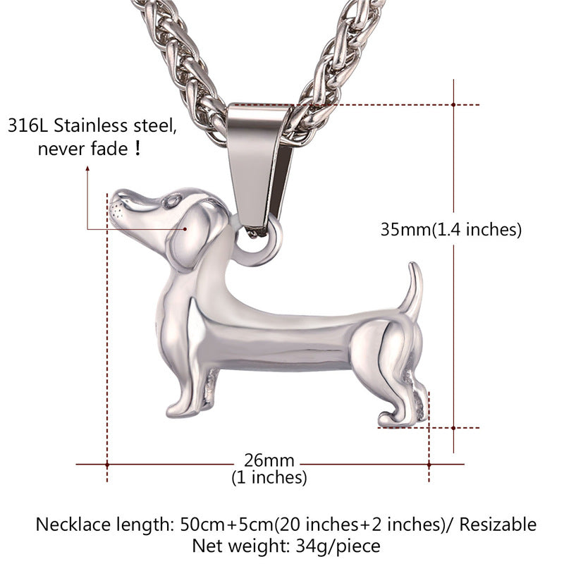 Dachshund Stainless Steel Pendant Necklace