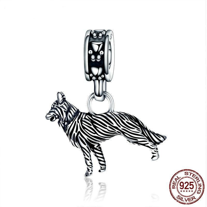 silver sheep dog bracelet charm
