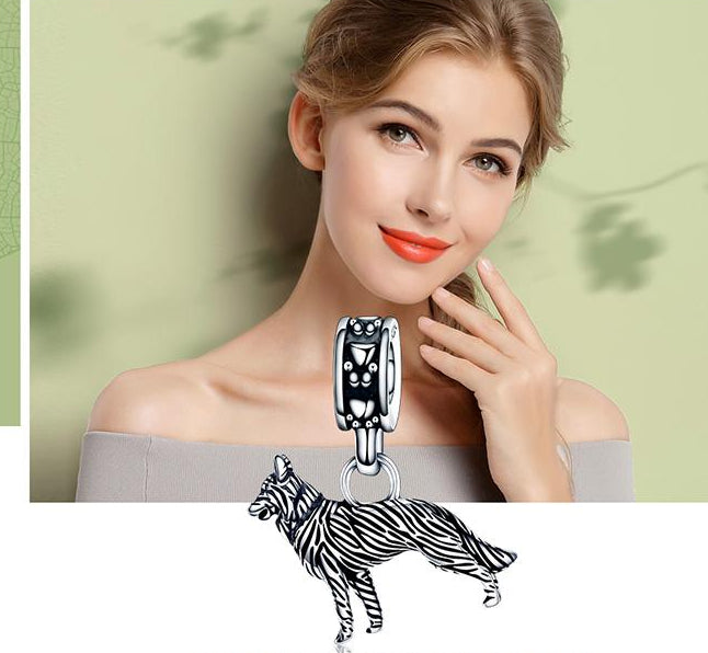 925 Sterling Silver Sheepdog Charm