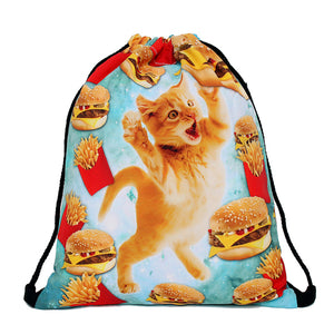 Cat Design Drawstring Back Pack