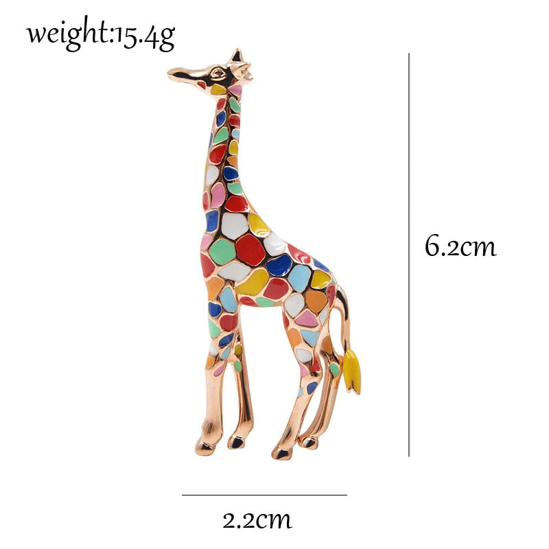 Colourful Enamel Giraffe Brooch