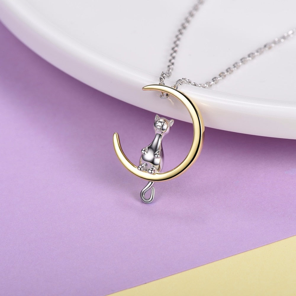 Sterling Silver Cat on the Moon Pendant & Chain