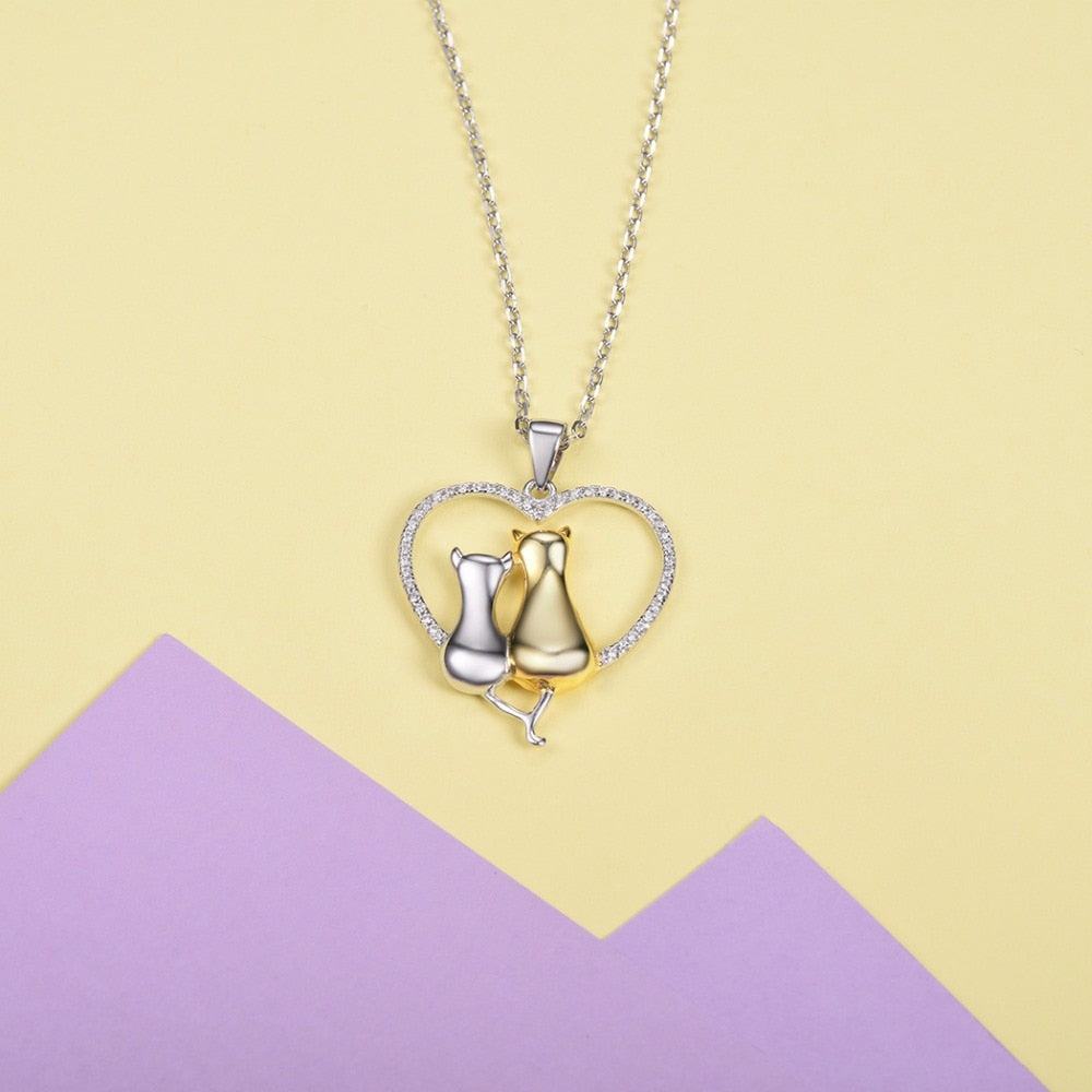 925 Sterling Silver Heart Cat Lovers Pendant Necklace
