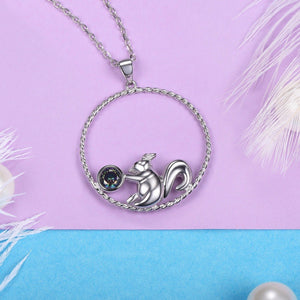 925 Sterling Silver Squirrel Gem Pendant Necklace