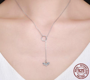 100% 925 Sterling Silver Square Honeycomb Busy Bee Pendant Necklace
