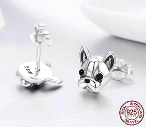 French Bulldog Dog Small Stud Earrings in Sterling Silver