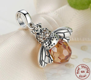 925 Sterling Silver Wing Honey Bee Bracelet Charm