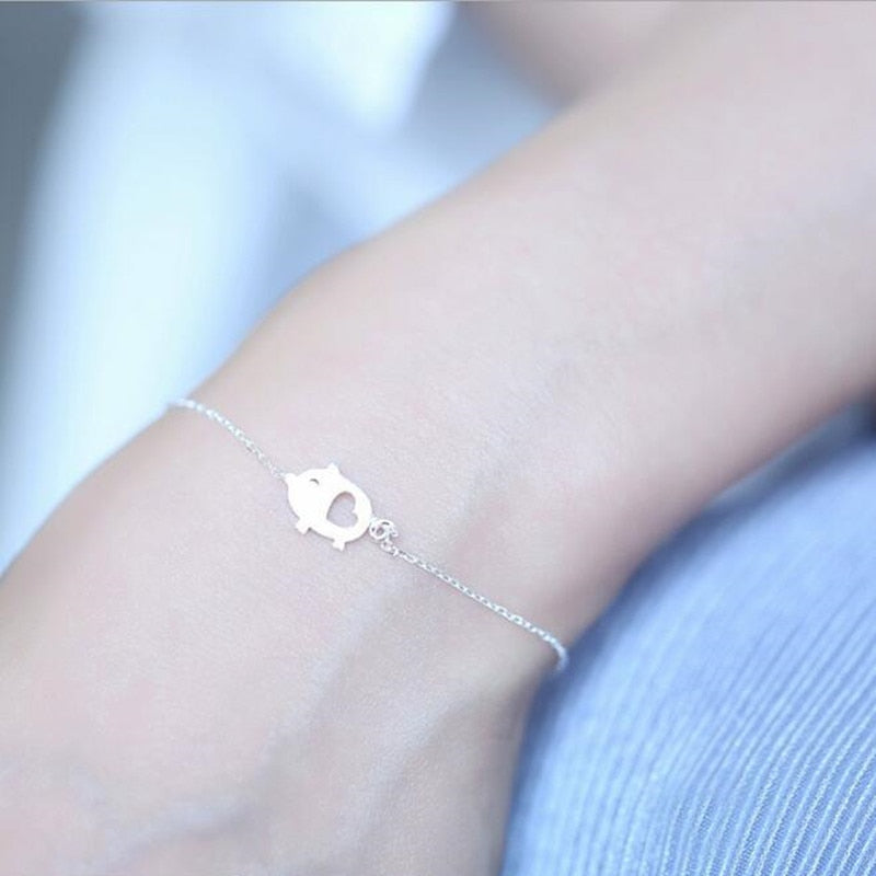Exquisite Handmade 925 Sterling Silver Cute Pig Bracelet