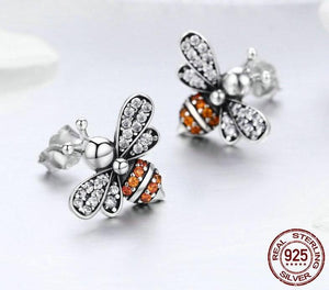 Exquisite 925 Sterling Silver Stud Bee Earrings